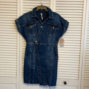 Free People Denim Mini Dress  Size S NWT
